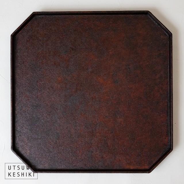 [蝶野秀紀]和紙貼八角盆(正方形)/茶