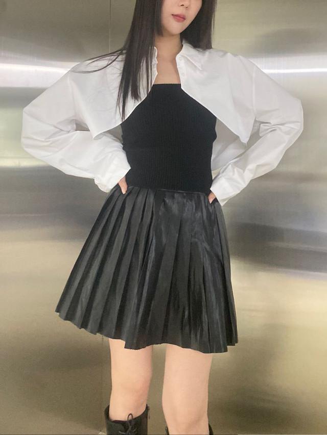 【WOMENS - 2 Size】ROSE PLEATED LEATHERSKIRT / Black