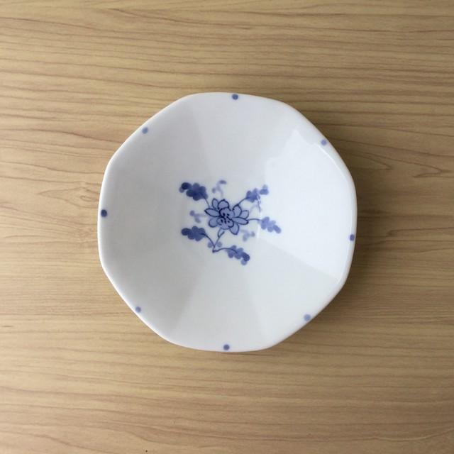【有田焼】古染付見込小花 八角五寸皿