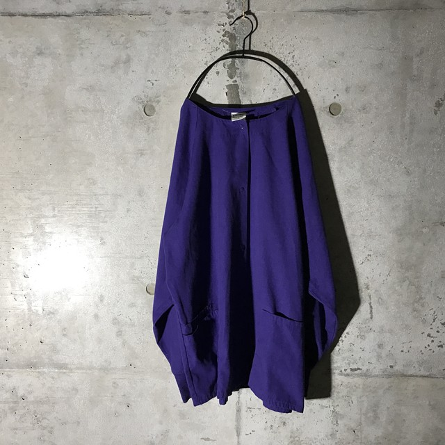 [used] no collar purple shirt
