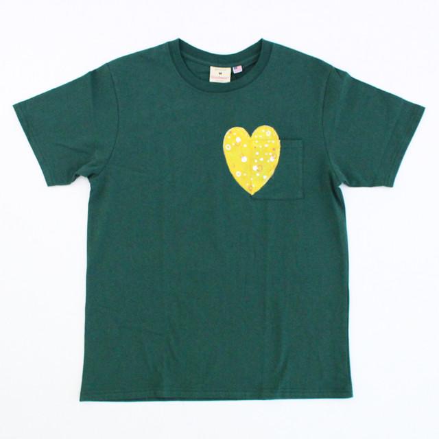 西村公一「ハートTシャツ/グリーン&イエロー」(Mサイズ)