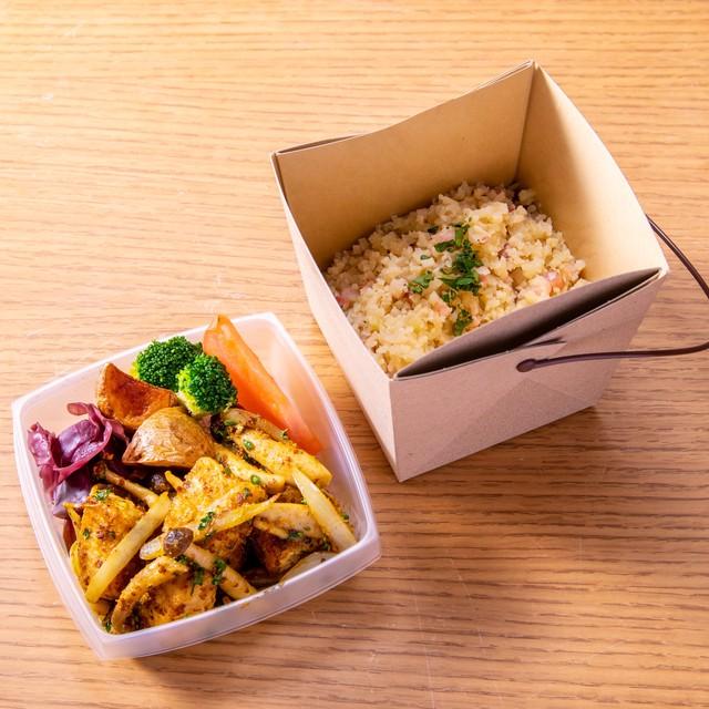 【ロカボメニュー】カジキマグロと茸のカレーソテー カリフラワーライス