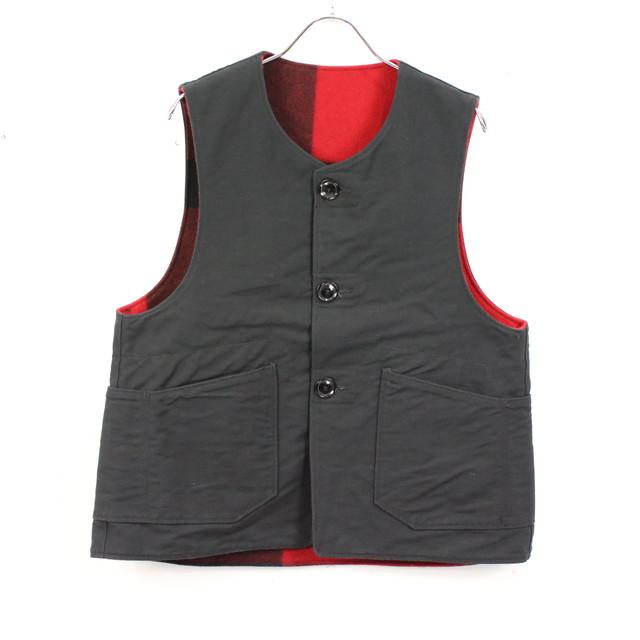【美品】Engineered Garments / エンジニアドガーメンツ | WOOLRICH Over Vest リバーシブルオーバーベスト | S | ブラック×レッド | メンズ