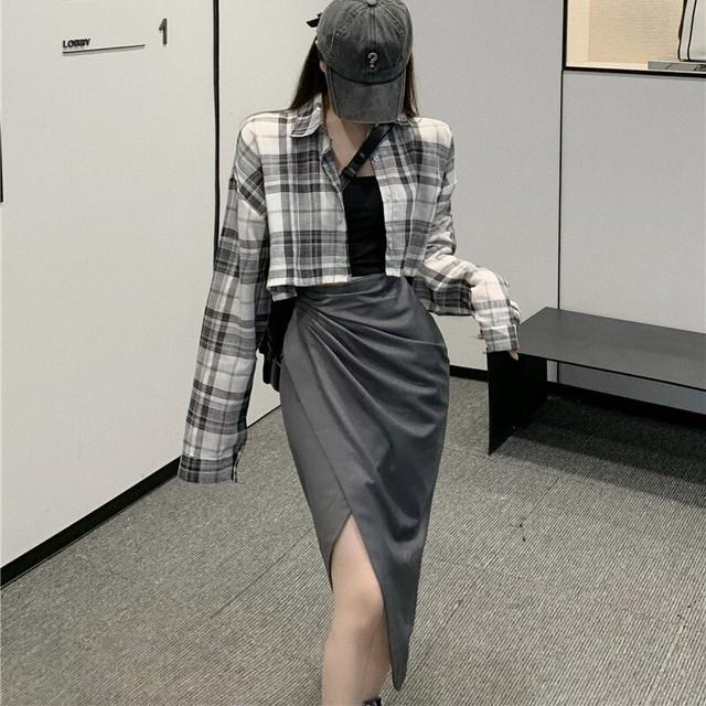 ショートチェックシャツ+キャミ+スカート