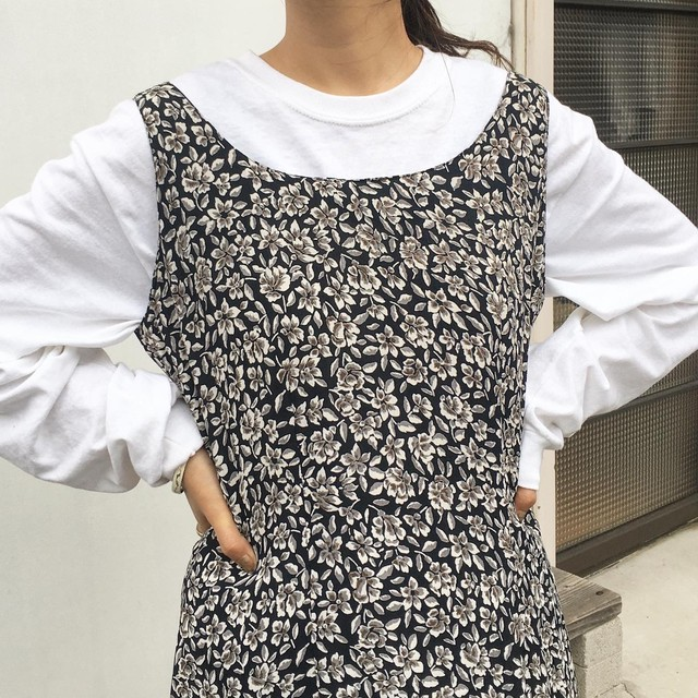 """USED """" Monotone flower one piece / モノトーン フラワープリント ワンピース """""""