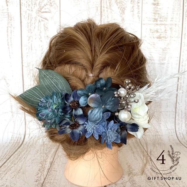 コピー:【ヘッドドレス 】アンティークブルー&グリーン ヘッドドレス セット   髪飾り ヘッドドレス  和装 卒業式 結婚式 ウェディング 七五三 浴衣