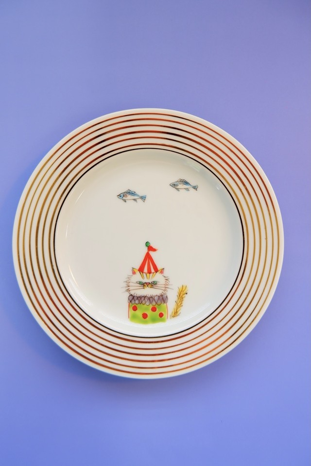 yellow cat circus  / plate(15cm)丸(stripe gold)