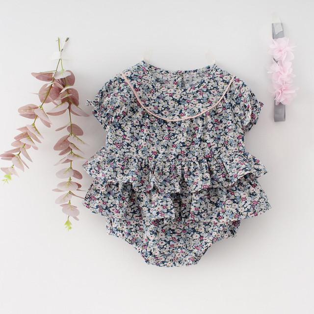 【在庫限り】フリル花柄ロンパース