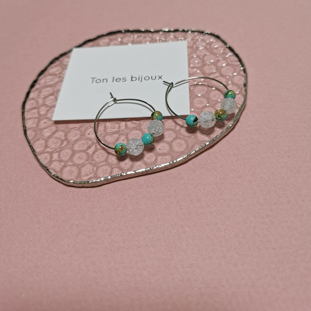 Crack crystal and turquoise earrings