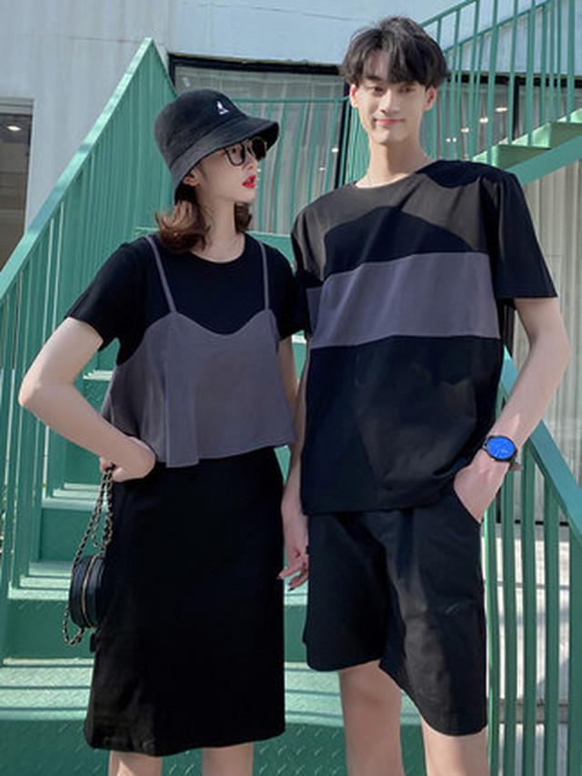 オーバーキャミソール Tシャツ ワンピース 0933 メンズTシャツ カップル ペアルック リンクコーデ カジュアル お揃い デート