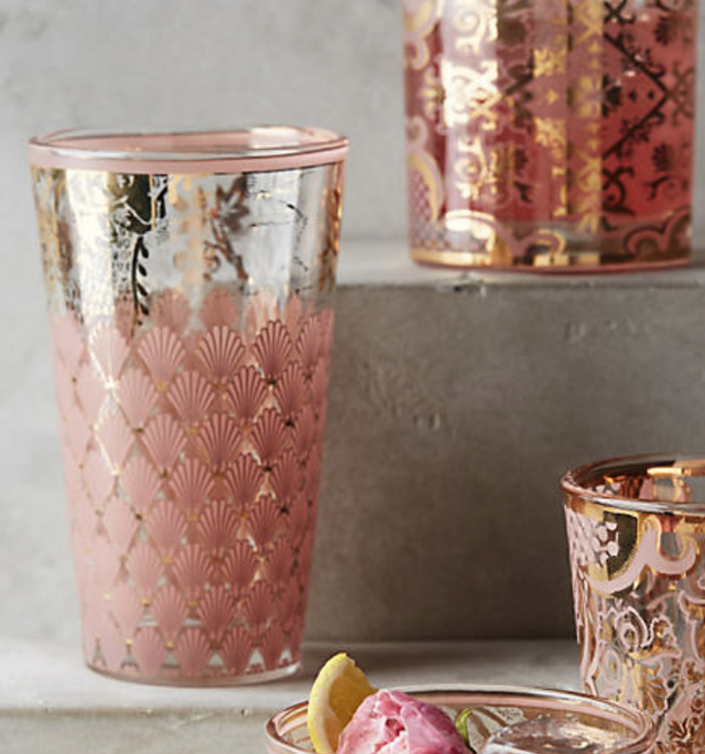 ANTHROPOLOGIE glass pink