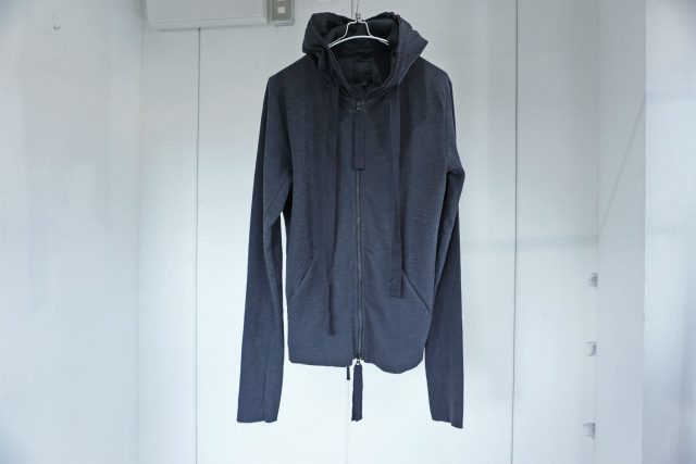 thom krom / SLAB ZIP UP HOODIE / BLUE