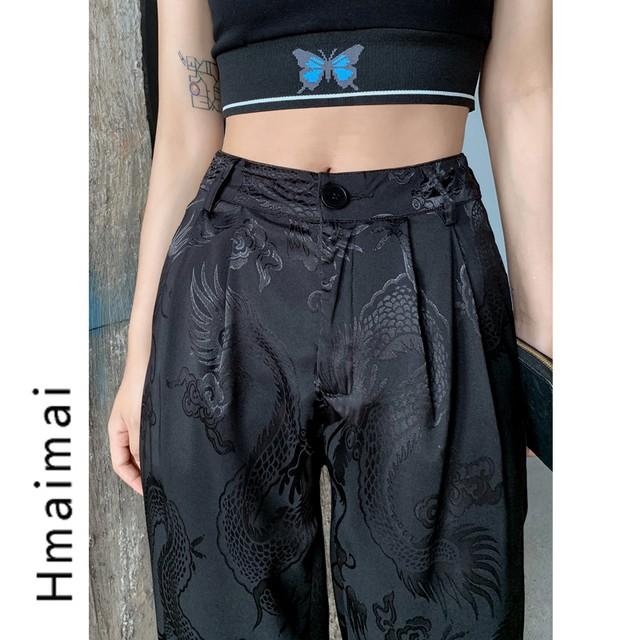 チャイナ風ズボン 龍紋 中華服 龍 ボトムス S M L ブラック 黒い カジュアル 中華服 かっこいい