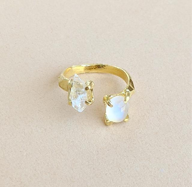 Herkimer Diamond, Royal Blue Moonstone Ring