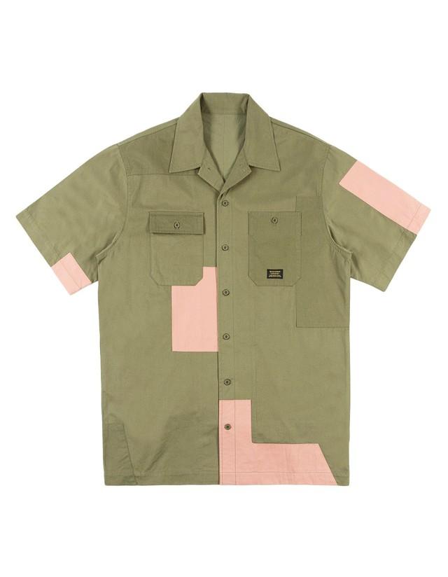 【MAHARISHI】 Patchwork S/S shirt OLIVE