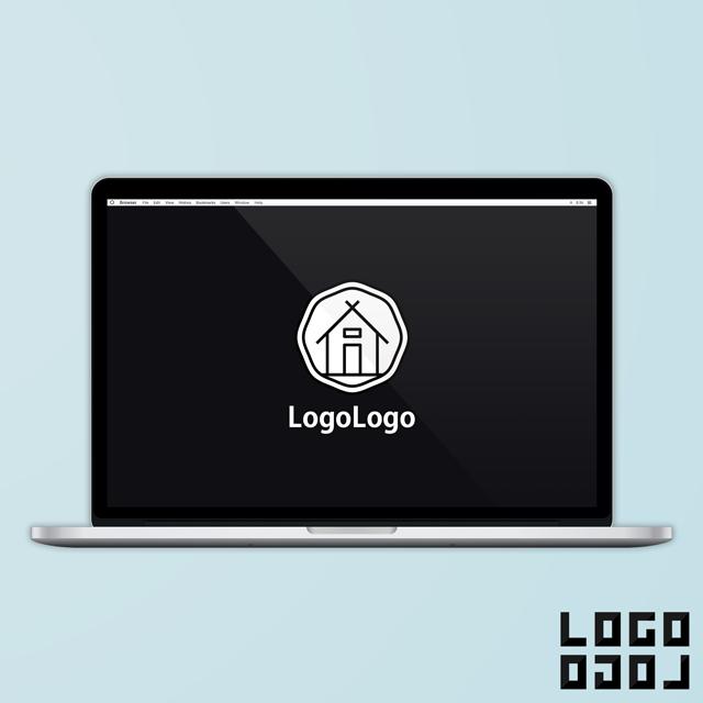 ロゴマークデザイン - イラストのようなシンプルでかわいい家のデザインのロゴ