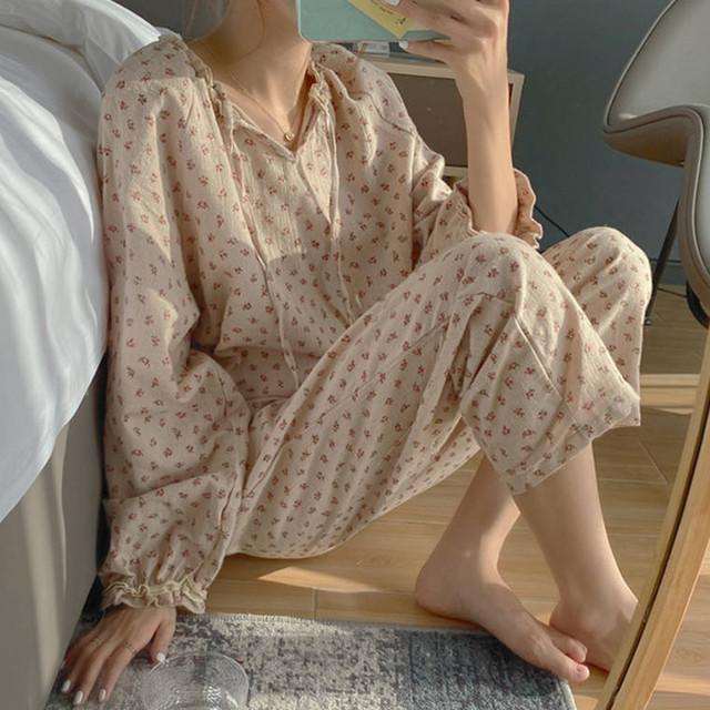【送料無料】デザイン選べる♪パジャマ♡パジャマ シャツ+パンツ ワンピース フラワー フェミニン 可愛い