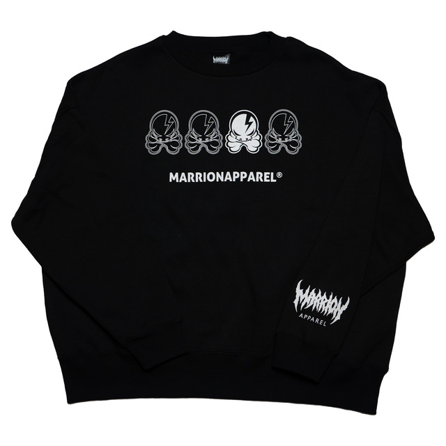 【裏起毛】 4 OCTOPUS SKULL Big Silhouette SWEAT (BLACK)