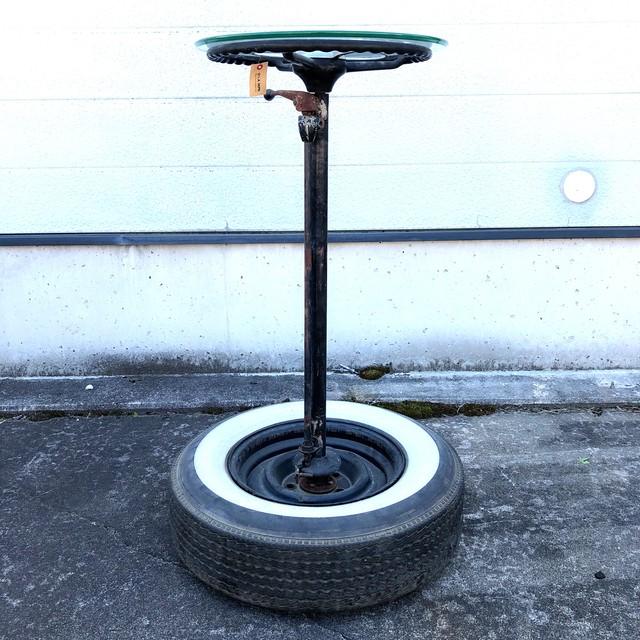 品番1858 創作 タイヤ付 ステアリングテーブル バーテーブル 丸テブール スチール製 ガラス天板 ヴィンテージ 家具