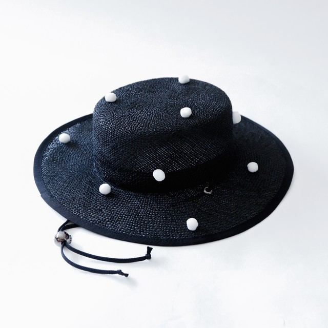 《michirico 2020SS》PonPon boater hat / black