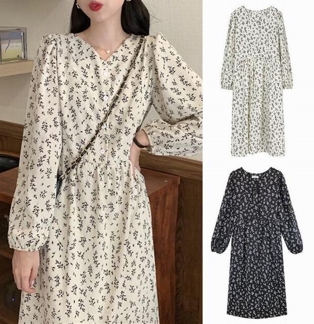 花柄ワンピース Vネック パフスリーブ 長袖 ルーズウエスト Aライン ロング丈 ホワイト ブラック 薄手 韓国ファッション レディース 大人可愛い ガーリー フェミニン / Floral French small dress is thin (DTC-626563457657)