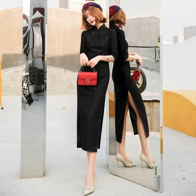 ロング丈チャイナドレス レースチャイナドレス チャイナ風ワンピース ロングドレス 七分袖 大きいサイズ S M L LL 3L 4L 民国風 エレガント チャイナ風服 ブラック 黒い