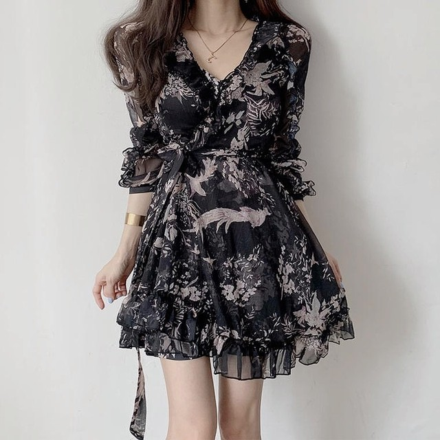 lady flower dress 2color