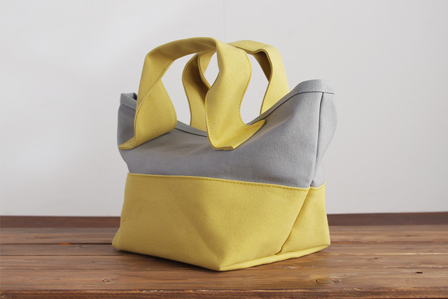CHUBBY TOTE BAG (ライトグレー×ライムイエロー)