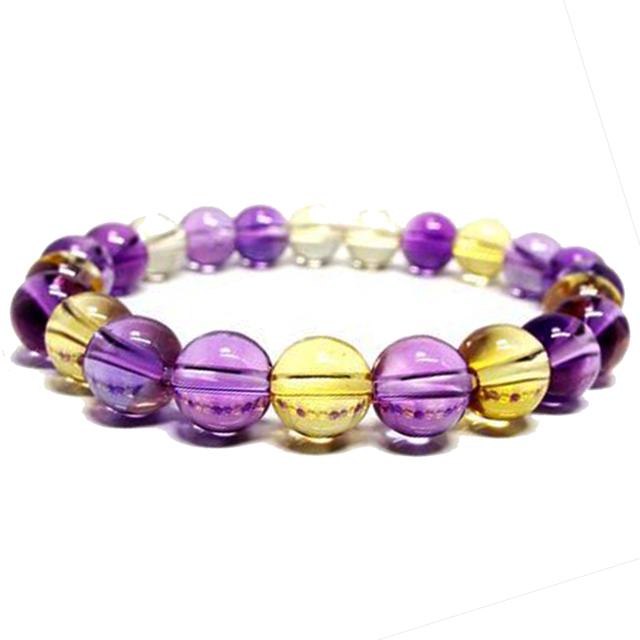 【波動の調和と循環】★天然石 アメトリン 紫黄水晶 ブレスレット(6mm,8mm,10mm)