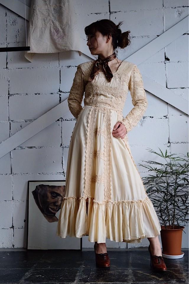 Antique cotton silk lace dress