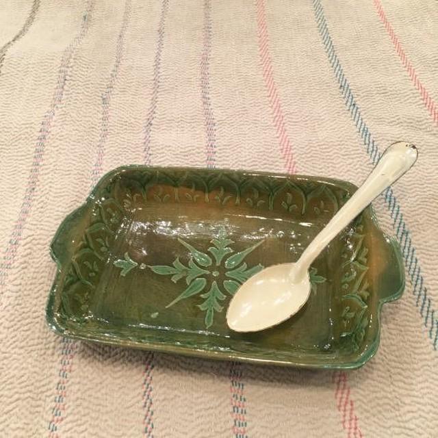 パキスタン ハイデラバード窯の陶器 角皿S/グリーン
