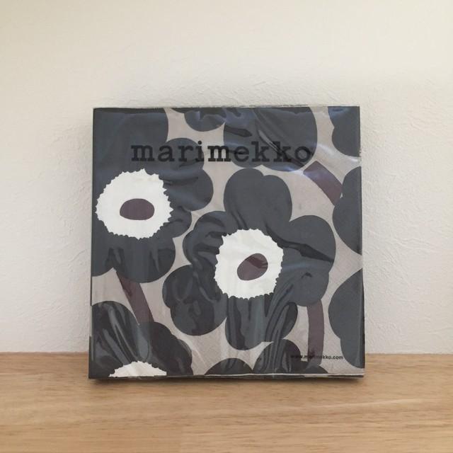 【marimekko】ランチサイズ ペーパーナプキン UNIKKO ブルー×リネン
