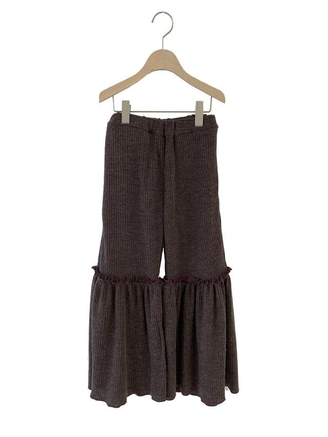 UNIONINI rib knit frill long pants (dark brown)  S/M