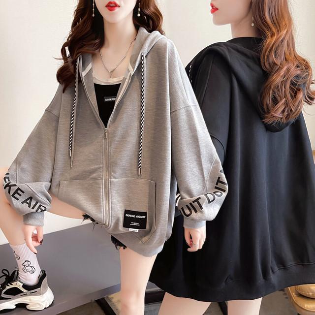 ジップアップ パーカー 袖プリント ドロップショルダー 薄手 オーバーサイズ 韓国ファッション レディース トップス フード付き カジュアル ストリートファッション / Thin loose hooded zipper sweatshirt jacket (DTC-653562026867)