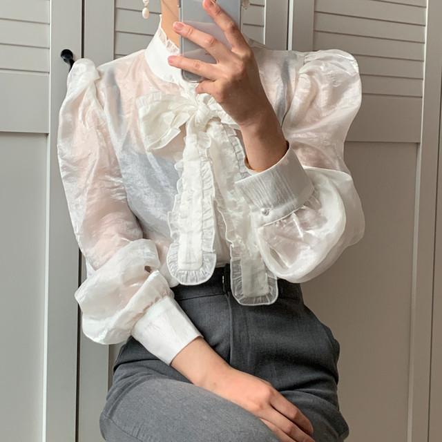 リボンタイシアーシャツ 1408