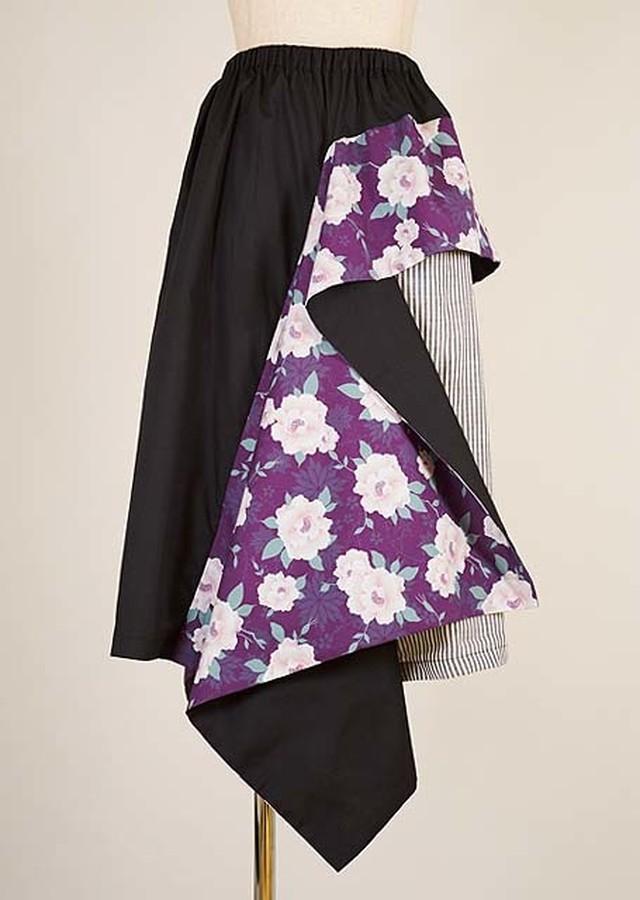 gouk 和柄のフレアーとストライプの切り替えのスカート 黒 GGD27-S004 BK/M