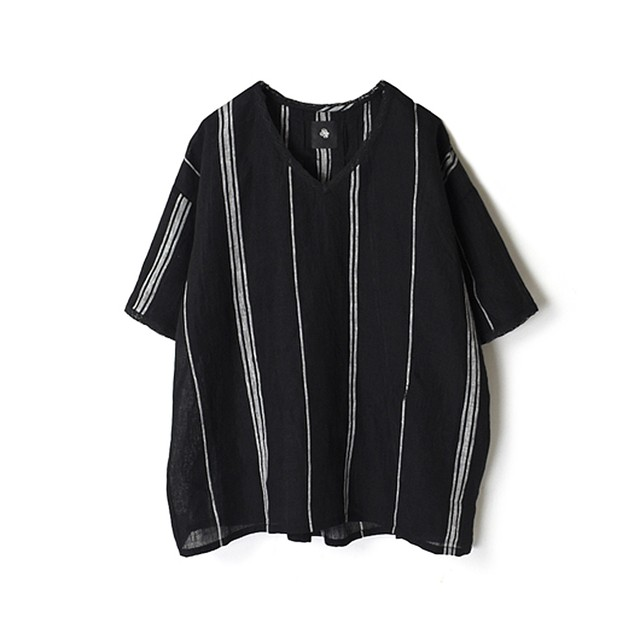 maison de soilメゾンドソイル/80'S POWER LOOM LINEN RANDOM STRIPE V-NECK LACE SHORT PULLOVERストライプVネックレースショートプルオーバー【NMDS20033 】