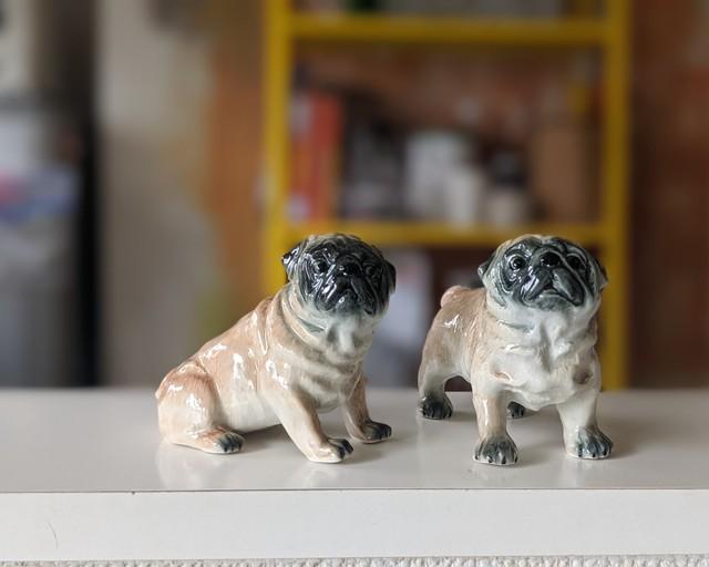 【ミニチュア陶器】  Pug~stand~
