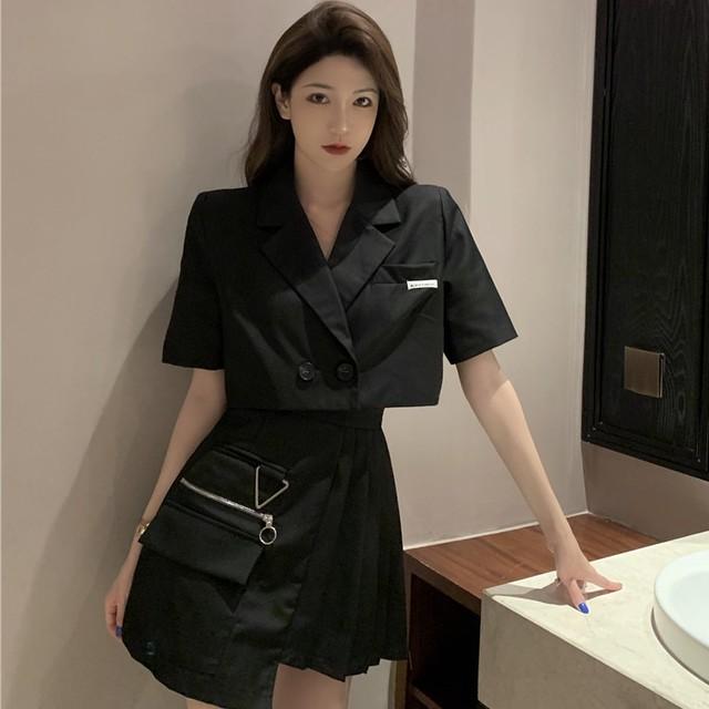 【セット】[単品注文]人気爆発韓国系ダブルブレスト折り襟ショート丈アウター+ギャザー飾りスカート二点セット42124936