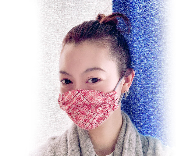 子供用マスク 綿麻×ダブルガーゼ/青緑小鳥柄 2才〜低学年 送料無料