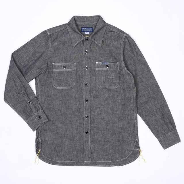 IRON HEART - IHSH-21 - Heavy Selvedge Chambray Work Shirt - Black
