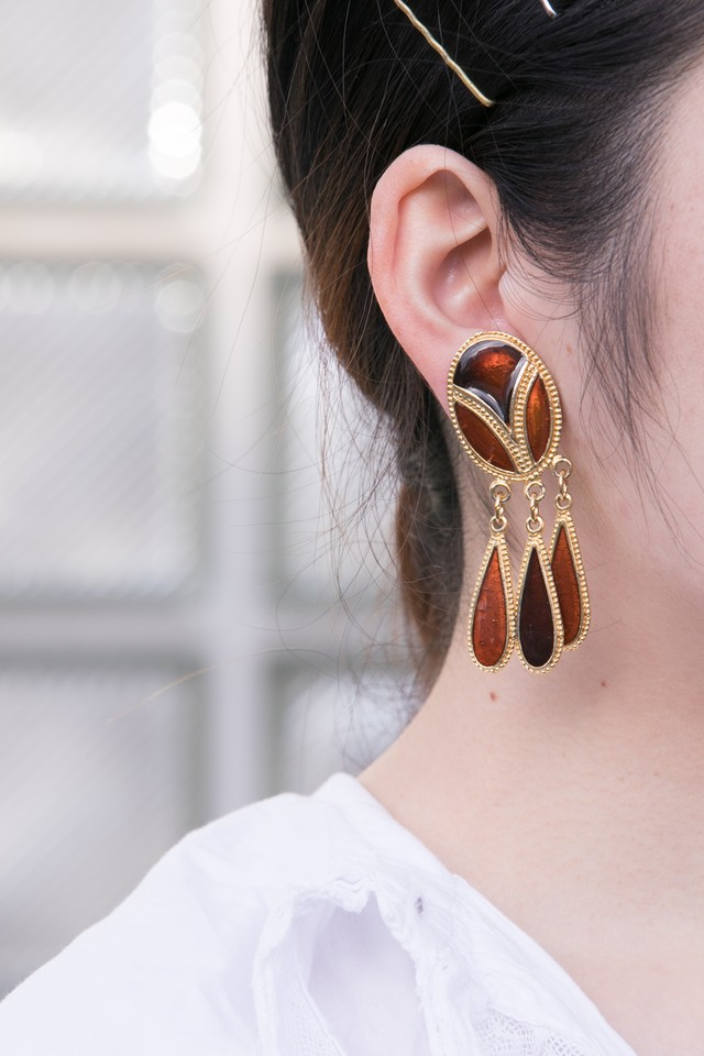 【Run Rabbit Run Vintage 】Brown hanging earring