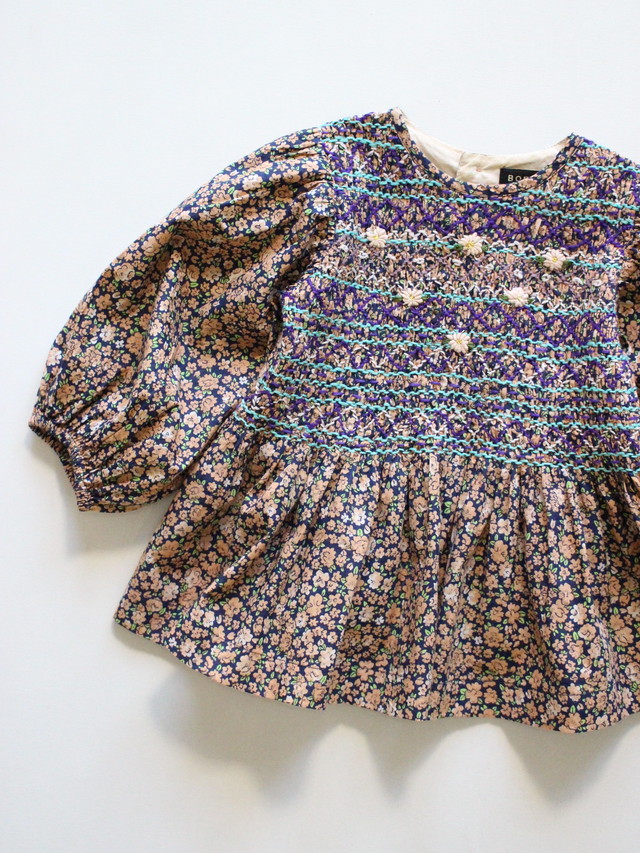 BONJOUR DIARY  Handsmocks blouse Violette  8-12y