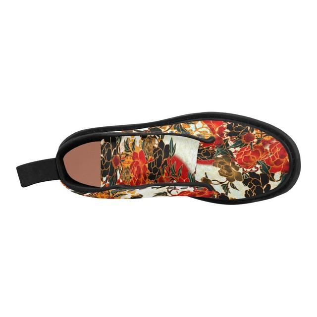 牡丹家紋紅白 メンズ&レディースマーチンブーツ