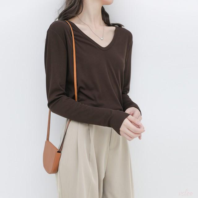 【トップス】12色展開 好感度UP 快適 無地 定番 合わせやすい Vネック 長袖 Tシャツ43664726