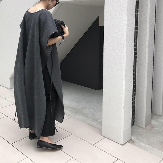 KU-UM×chika パール釦ウォッシュドシャツワンピース ベージュ