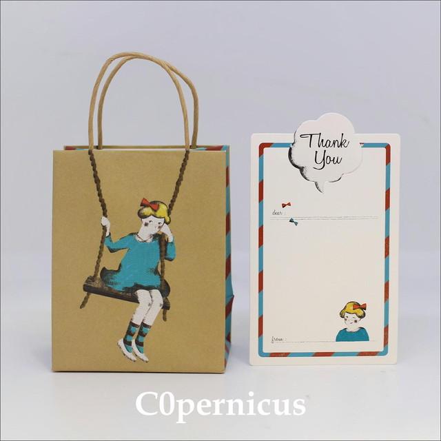 メッセージカード/紙袋/ギフト袋 (女の子ブランコ)浜松雑貨屋 C0pernicus  便箋・紙袋レターセット
