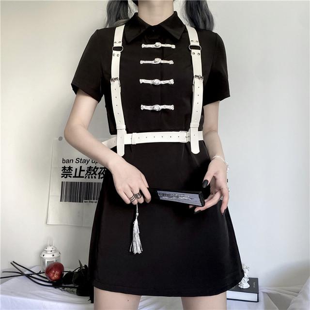 チャイナ風ワンピース ミニ丈 改良型チャイナドレス 白いベルト付き S M L 折り襟 ブラック 黒い