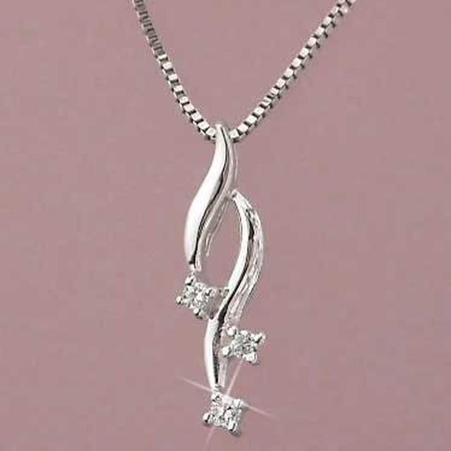 ダイヤモンドネックレス ペンダント 10金ホワイトゴールド k10 天然ダイヤモンド リーフ
