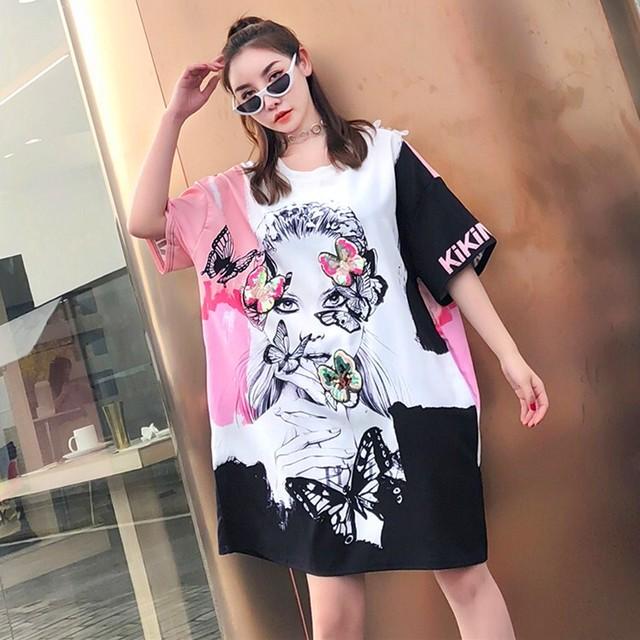 【トップス】レース透かし彫りプリントファッション半袖Tシャツ32176537